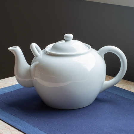 Harold Import Company 12 Cup Ceramic Teapot - White - With Helper Handle