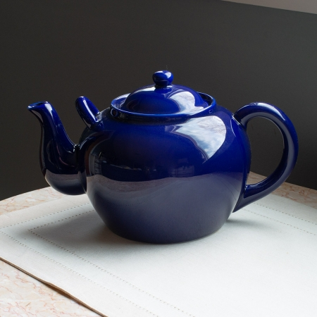 Harold Import Ceramic 12 Cup Teapot - Colbalt Blue - With Pouring Assist Handle