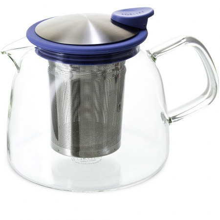FORLIFE Bell Teapot 24oz - Blue - Borosilicate Glass with Stainless Steel Infuser