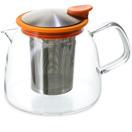 FORLIFE Bell Teapot 24oz - Orange - Borosilicate Glass with Stainless Steel Infuser