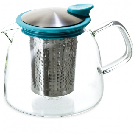 FORLIFE Bell Teapot 24oz - Turquoise - Borosilicate Glass with Stainless Steel Infuser
