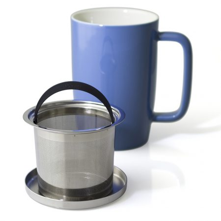 Forlife Dew Brew-in Tea Mug with Basket Infuser and Stainless Steel Lid - Blue