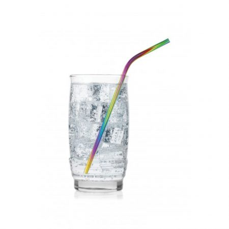 Rainbow colored stainless steel straw adds flare to your beverage.