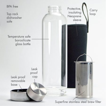 19oz Primula Cold Brew Travel Bottle includes a leak proof removable base, leak proof cap, a superfine stainless steel brew filter, a temperature safe borosilicate glass bottle, and a protective neoprene sleeve with carry loop.