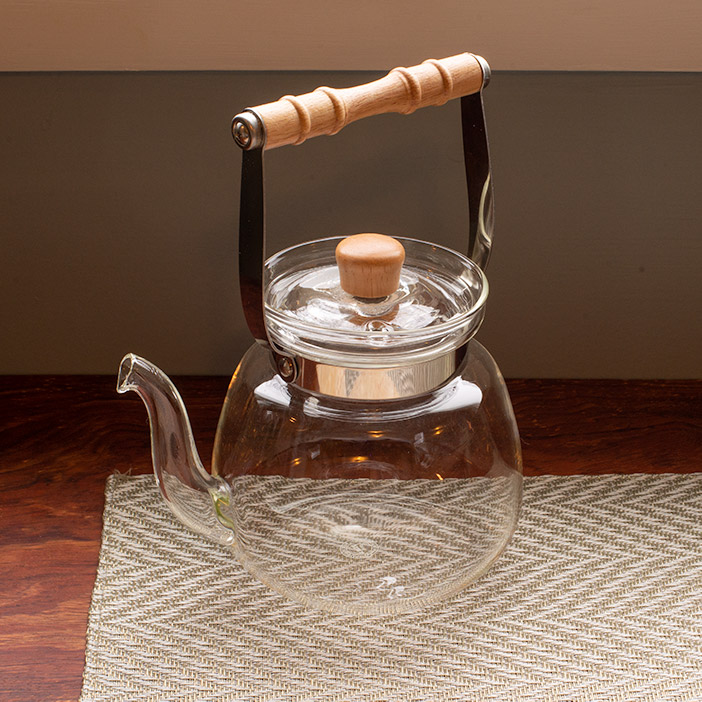 Yama Chinese Glass Water Kettle/Teapot with Bamboo Handle - 40oz, 1200ml