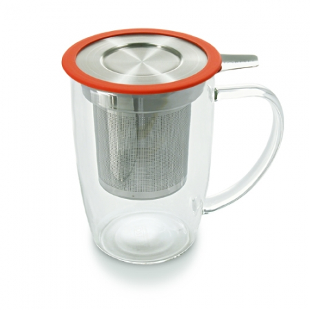 Tall Tea Mug with Infuser and Lid - Paprika Color - By ForLIfe