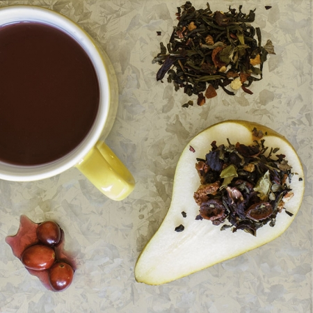 USDA Certified Organic Cranberry Pear Smash Tea: with tart notes of cranberries & hibiscus, sweet flavors of apple & pear, with a hint of orange zest.