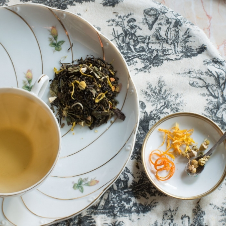 Buy Online - USDA Certified Organic Lady Marmalade Tea. Bold green tea with classic bergamot, and a finish of sweet floral chamomile and elder flower. Available in Bulk.